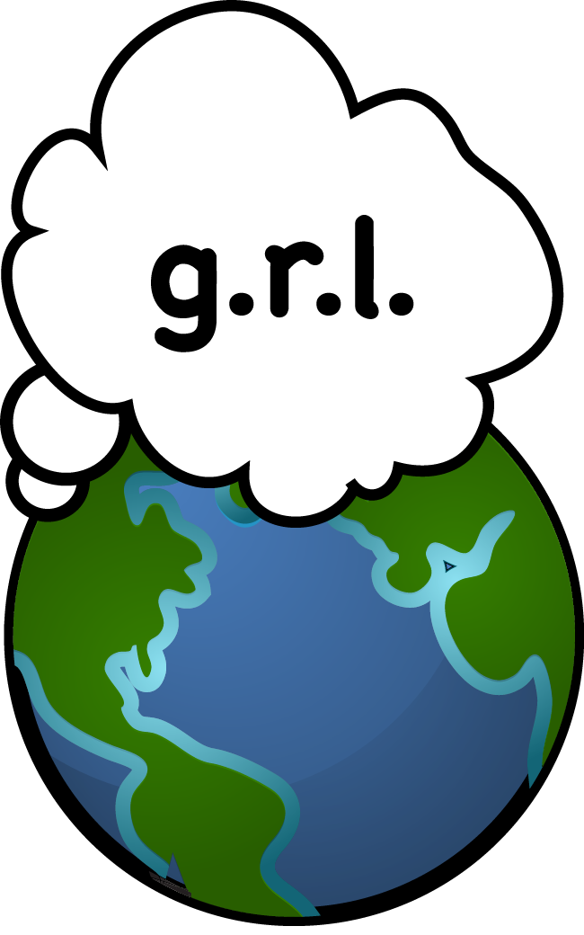 "Logo of planet and thought cloud saying ""g.r.l."""
