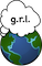 Earth with thought cloud saying g.r.l.